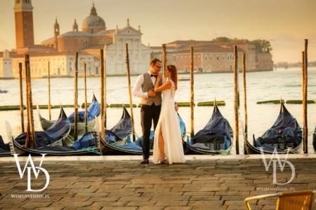 gondole, wenecja, sesja ślubna