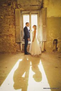 zdjęcia pary młodej, odbicie cieni